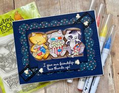 Fan Feature Week - Day 4 | Movie Watching Cats Card by Karli M using Newton's Movie Night Stamp Set by Newton's Nook Designs #newtonsnook #handmade Can You Can, Happy Vibes, Cat Cards, Nook, Make Me Smile, More Fun, Things To Think About, Badge, Give It To Me