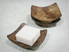 Set of 3 Rectangle Coconut Shell Soap Dish