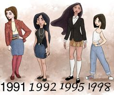 Disney princesses dressed according to their movies release years  Belle, Jasmine, Pocahontas, Mulan