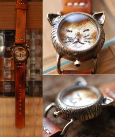 Vintage Handmade Wrist Watch. Handstitch Leather Band /// A cute Cat NekoNeko…