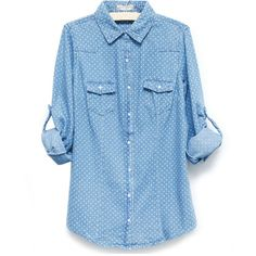 Vintage Denim Blouse with Spotted Details ($34) ❤ liked on Polyvore