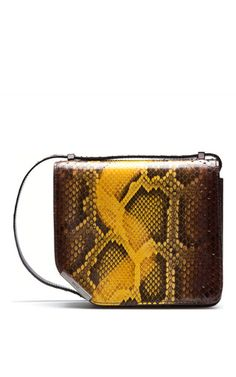 This **Bally** shoulder bag shows history repeating itself: Bally heritage is characterized through the sliced corner detail inspired by the 'Gentleman's Corner' found on the heel of men's dress shoes, crafted with precision in luxurious yellow python skin.