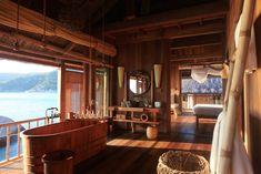 Water Villa at 5 star hotel: Six Senses Ninh Van Bay. This hotel's address is: Ninh Van Bay Ninh Van Bay Nha Trang and have 58 rooms Deco Pirate, Wooden Bathtub, Wooden Bathroom, Bathroom Ideas, Wood Bath, Bathroom Designs, Bathroom Wall, Master Bathroom, Senses Spa