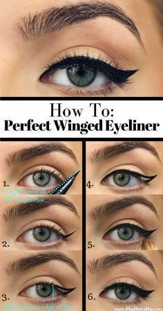 How to do winged eyeliner Your eyeliner will be so even and sharp you could fly away on those wings. #howtodowingedliner