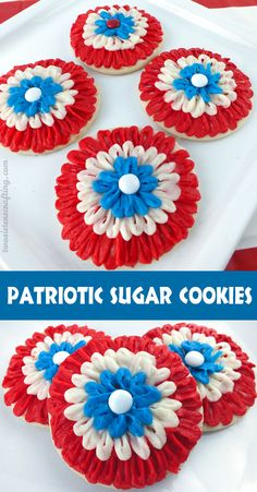 These gorgeous Patriotic Sugar Cookies are made with red white and blue Buttercream Frosting and are the perfect dessert for a 4th of July Party or a Memorial Day BBQ.  Easier to make than they look, we have detailed instructions on how to create these beautiful and festive cookies.  For more great 4th of July Food Ideas follow us at https://www.pinterest.com/2SistersCraft/