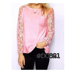 Pretty In Pink Top Cute pink top with lace sleeves. Made of a poly blend & lace. Size S, M, L brand new without tags. Tops
