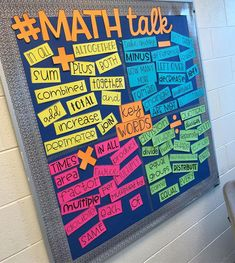 I& in love with my bulletin board from My kiddos are always looking over to double check their key words& 5th Grade Classroom, Middle School Classroom, Future Classroom, Math Bulletin Boards, Bulletin Board Ideas Middle School, Elementary Bulletin Boards, Preschool Bulletin, Math Fractions, Guided Math