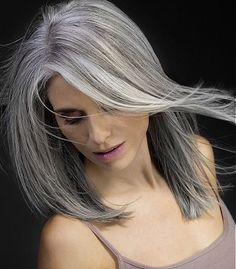 Long Grey gray hair Straight poker-straight multi-tonal womens hairstyles for women