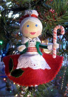 Mrs. Claus with Felt Bun