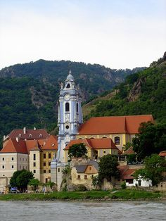 Dürnstein Abbey on the Danube river in Lower Austria ~ Took an amazing River Cruise with my Mom and her friends in 2001 down the Danube in December to visit the Christmas Markets. Lovely trip!