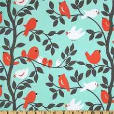 """Michael Miller Sorbet Tweetie Pie Aqua - AQUA/CORAL/BROWNISH GREY THEME my FAVORITE fabric of all...is it too girly or can it go boy/girl? want to make curtain valance but it's only 44"""" wide and my window is 44"""" wide...i need wider fabric or a better idea. maybe a crib skirt?"""