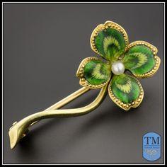 Art Nouveau 14k Gold & Enamel Four Leaf Clover Pin  $185