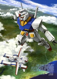 The RX-78-2 Gundam (aka the Gundam or the White Mobile Suit) is the titular mobile suit of Mobile Suit Gundam. Part of the RX-78 Gundam series, it was built in secret on Side 7. The Gundam would turn the tide of war in favor of the Earth Federation during the One Year War against the Principality of Zeon. The unit was primarily piloted by the series' main protagonist Amuro Ray. With White Base!