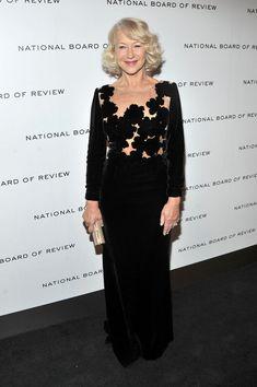 Helen Mirren Evening Dress - Helen Mirren looked luxe in velvet at the National Board of Review Awards.