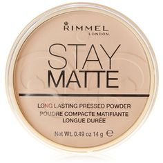 Rimmel London Stay Matte Pressed Powder, Sandstorm 004, 0.49 oz (€16) ❤ liked on Polyvore featuring beauty products, makeup, face makeup, face powder, beauty, rimmel and compact face powder