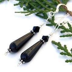 Black Onyx Teardrop Handmade Earrings Swarovski Sterling OOAK Jewelry | ShadowDogDesigns - Jewelry on ArtFire