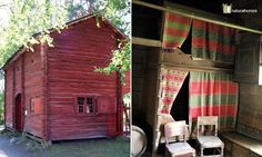 This is the Kurssi farmstead gatehouse from Southern Ostrobothnia in Finland. It was built in 1825 providing access to the farmyard and accommodation in the summer for the daughters, maids and farmhands who slept on the 2nd floor in these bunkbeds curtained with traditional materials. Kurssi House was brought to the Seurasaari Open Air Museum [www.nba.fi/en/seurasaari_openairmuseum] from one of the biggest farms in Kuortane.