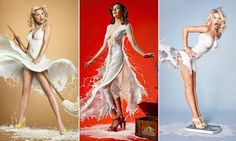 Naked pin-ups wearing dresses made of MILK
