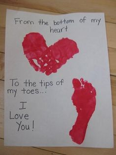 Bottom of heart to tips of toes! for 2 kids use hands of one, foot of the other, change to we love you...no brainer