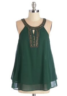 Me, Myself, and Ibiza Top - Mid-length, Woven, Green, Solid, Beads, Tiered, Holiday Party, Sleeveless