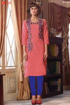 Incredible Straight Kurti Style with Resham Work. Message/call/WhatsApp at +91-9246261661