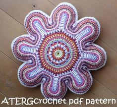 Crochet pattern flower cushion by ATERGcrochet by ATERGcrochet