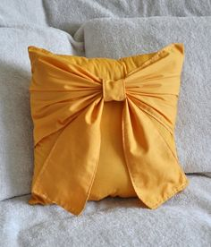 Golden Yellow Bow Pillow Mustard Yellow by bedbuggs on Etsy Bow Pillows, Cute Pillows, Mellow Yellow, Mustard Yellow, Felt Pillow, Throw Pillow, Costura Diy, Big Bows, Accent Pieces