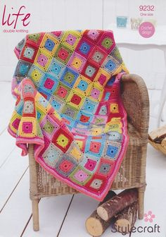 Stylecraft Home Square in a Square Throw Blanket Life DK Crochet Pattern 9232 Grannies Crochet, Crochet Quilt, Crochet Squares, Baby Blanket Crochet, Crochet Yarn, Crochet Blankets, Granny Squares, Crochet Afghans, Crocheted Lace