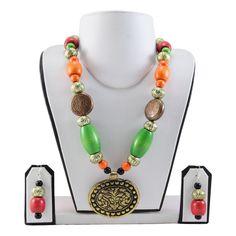 Multi Color Wooden Beads Antique Pendant Designer Necklace