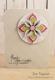 beautiful handmade card: Less is More: Papertrey In.luv the neutral colors with just a pop of red and green ... lovely depth of textures with two different embossing folder textures ...