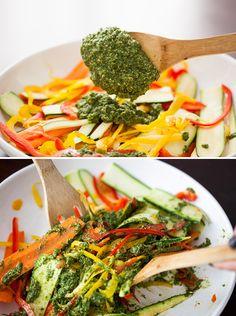 No-Cook Veggie Pasta (Gluten Free!) via Brit + Co.