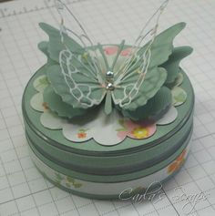 Memory Box Vivienne Butterfly Die, Memory Box Darla Butterfly Die, American Crafts Dear Lizzie, Neopolitan Papers, Small Decorated Container, Carlas Scraps (2)