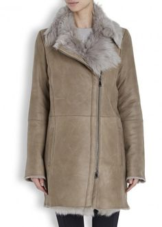 Taupe toscana shearling coat
