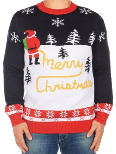 Ugly Christmas Sweater - Yellow Snow Sweater by Tipsy Elves at Amazon Men's Clothing store: Novelty Sweaters