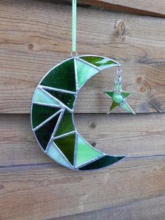 Stained Glass Moon and Star Green  Celestial  by DesertGirlGlass