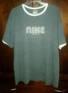 Nike Vintage 1972 RingerS/S T-Shirt Cotton Blend Mens Size XXL Gray/White NWOT
