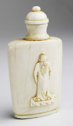 19th C Chinese Ivory Snuff Bottle With Relief Carved