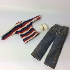 Vintage 1960's Pedigree Sindy Doll Clothes - Weekender Jeans Striped Top & Shoes | eBay