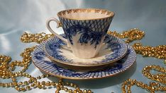 Russian Lomonosov porcelain teacup, cobalt blue flowers and white with gold gilt. Fine china teacup, saucer, cake plate - Tea cup - Coffee Cup