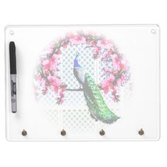 http://www.zazzle.com.au/peacock_cherry_blossoms_and_lattice-256010930119161518?rf=238523064604734277 Peacock Cherry Blossoms And Lattice Dry Erase Board And Key Holder - This dry erase board and key holder features a peacock perching on a cherry blossom branch in front of a lattice wall.