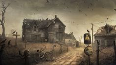 Apocalypse post apocalyptic radiation mask gas roads dark horror evil spooky creepy ruins halloween birds crows ravens bicycle houses haunted d… in 2020 Post Apocalyptic Novels, Post Apocalyptic City, 1920x1200 Wallpaper, Wallpaper Backgrounds, Wallpapers, Wallpaper Art, Mobile Wallpaper, Computer Wallpaper, Science Fiction