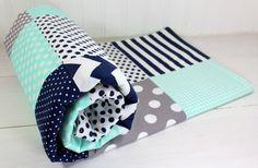 Baby Blanket, Boy Baby Blanket, Crib Blanket, Boy Nusery Decor, Mint Green, Navy Blue, Gray, Grey, Chevron, Dots, Stripes