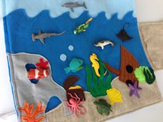 Travel Toy, Quiet Play felt playmat- Ocean theme with figurines.