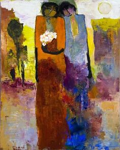 Goli Mahallati's triumphant spirit and newly found freedom to express herself is evident in her paintings by the proud stateliness of her figures.