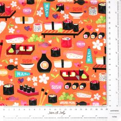¡Tela de sushi!  Cada vez que veo esta preciosa tela de patchwork tengo ganas de ir al japonés ;-)