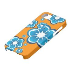 iPhone 5 case with blue flowers and orange background #iphone #iphone5 #cases #iphonecases #gadgets #flowers #floral