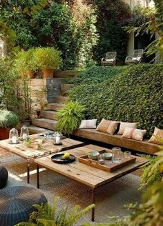 Relaxing Terrace Design In Natural Wood And Lots Of Green | DigsDigs by valarie