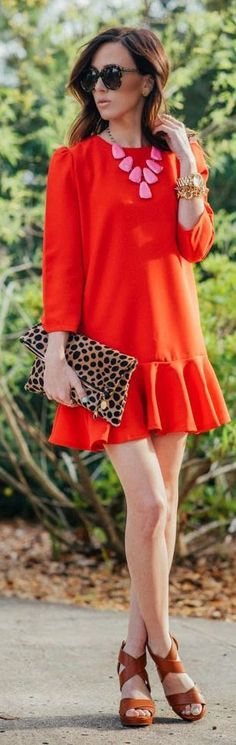 Teenage Fashion Blog: Red Ruffle Skirt Dress with Lepord Clutch and Stra...