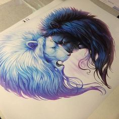 Day and night . They stick together so in your darkest times you will always find light. The lion is strength