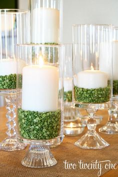 DIY hurricane candles with green split peas, DIY St. Patrick's Day centerpiece. … The Effective Pictures We Offer You About Patrick day A quality picture. St Patrick's Day Decorations, Decoration Table, St Patrick Decorations, Dining Room Table Decor, Flowers Decoration, Ceremony Decorations, Balloon Decorations, Christmas Decorations, Diy Décoration